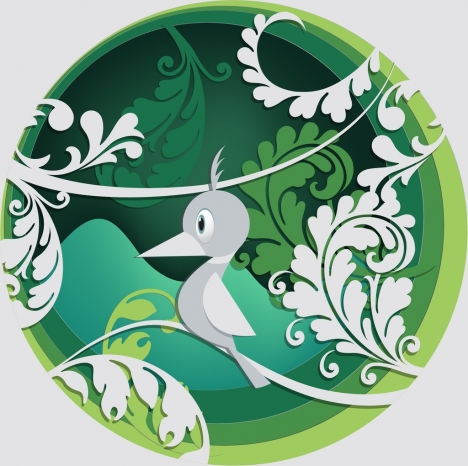 flowers bird background classical curves decoration