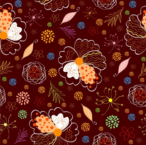 flowers pattern background colorful repeating hand drawn sketch