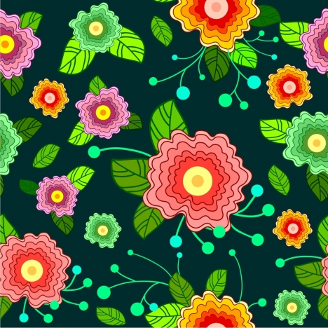 flowers pattern design various colorful floral icons decoration