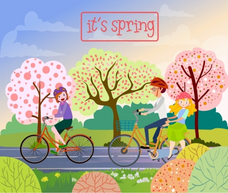 flowers spring drawing family riding bicycle colored cartoon