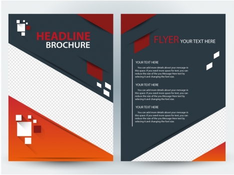 flyer brochure template design with diagonal illustration