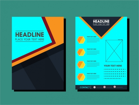 Flyer Design Template Layout In Dark Color Vectors Stock In Format