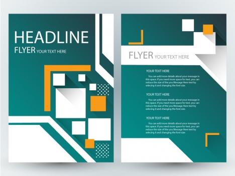 flyer design with geometric dark green background
