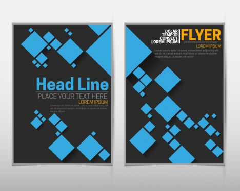 flyer sets with blue squares on dark background