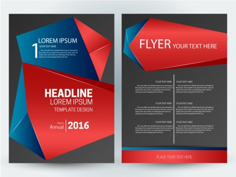 flyer template design with abstract 3d dark background