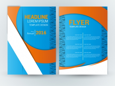 Flyer Template Design With Blue Curve Background Vectors Stock