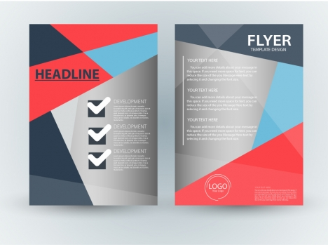 Flyer template design with checklist abstract style vectors stock ...