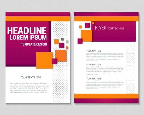 flyer template design with colorful geometric background vectors