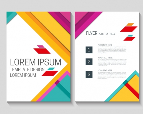 flyer template design with colorful modern style background vectors