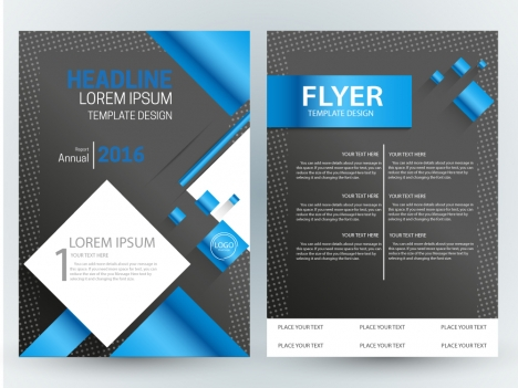 flyer template design with modern dark background