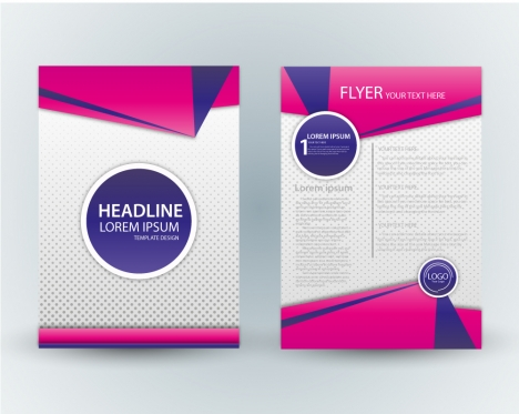 flyer template design with pink and spots background vectors stock