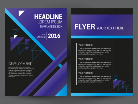 flyer template design with purple and black color