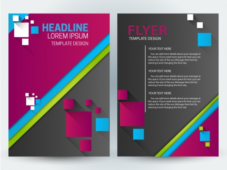 flyer template design with squares illustration