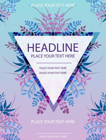 flyer template flowers triangle decoration