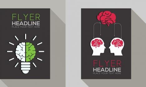 flyer template head brain lightbulb icons decoration