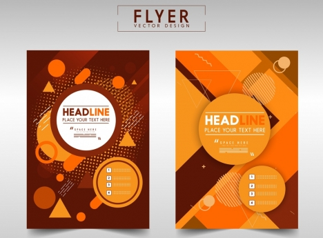 flyer template modern abstract orange decor