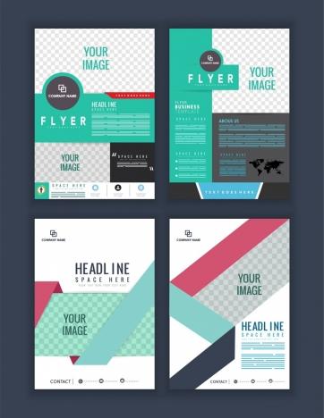 flyer template sets checkered decor multicolored modern design
