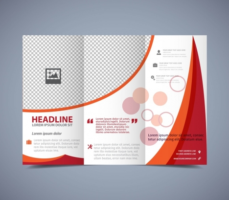 Flyer Template Trifold Design Red Curves Checkered Pattern Vectors