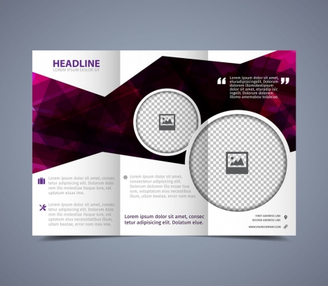 flyer template violet polygonal decoration trifold style