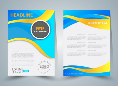 Flyer vector illustration with curved illustration background ...