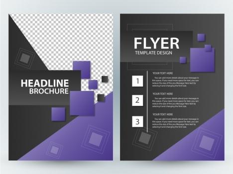 flyer vector illustration with violet squares design