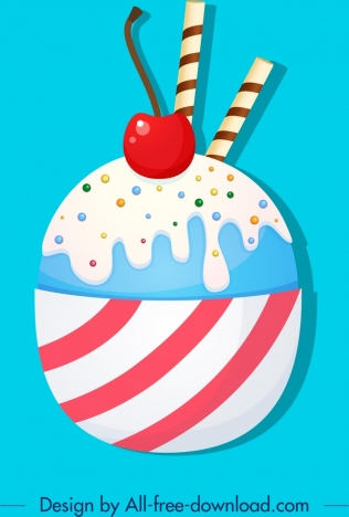food background ice cream icon colorful flat decor