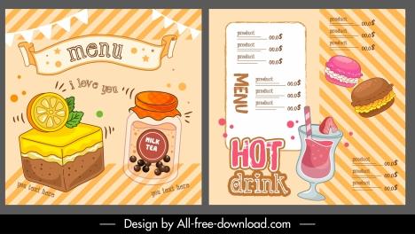 food drink menu template colorful dynamic handdrawn design