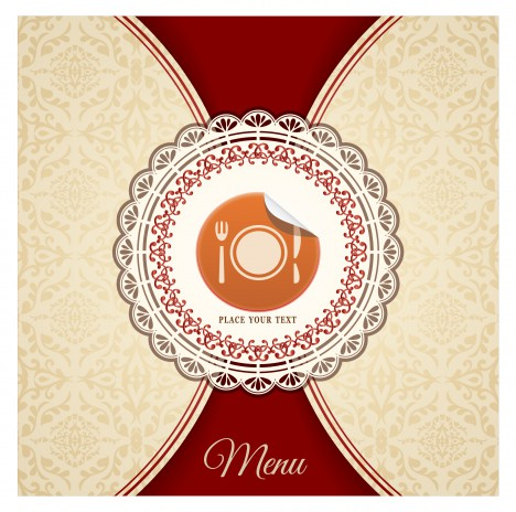 food menu cover with classical pattern