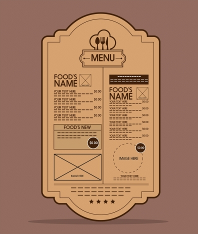 food menu design classical rounded shape style