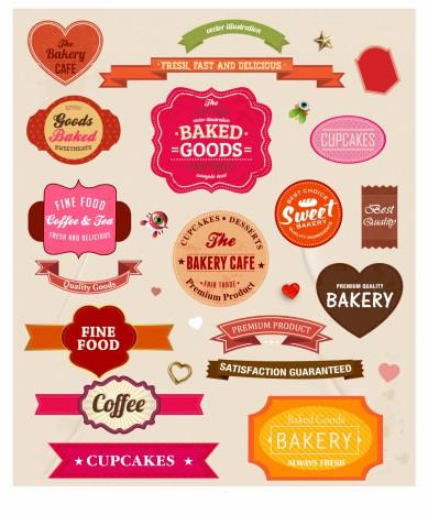 Food paper labels set