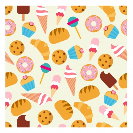 food pattern design with colors repeating design