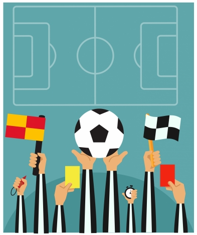 football concepts illustration with referees hands holding symbols