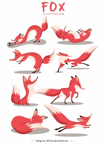 fox icons motion gestures sketch cartoon design