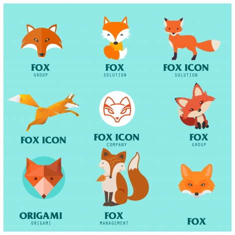 fox logo icons illustration in various styles