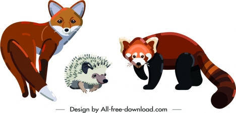 fox porcupine weasel animals icons colored cartoon sketch