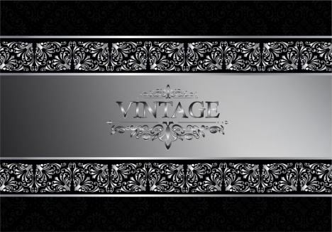 frame decoration template silver pattern design vintage style