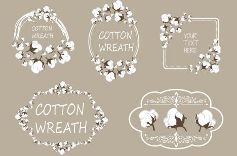 frame design elements cotton flowers decoration