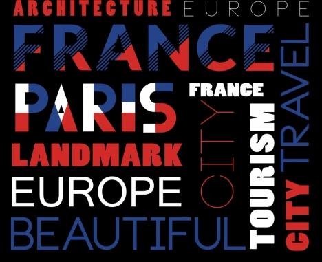 france advertising banner capital lettering decoration flat design