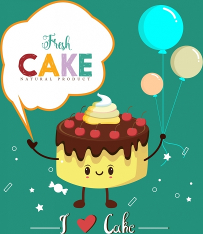 fresh cake advertising stylized icon cartoon design