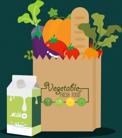 fresh food advertisement milk box vegetable bag icons