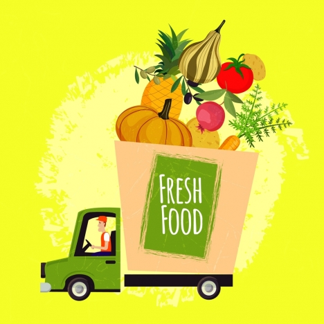 fresh food advertising truck fruits icons decoration