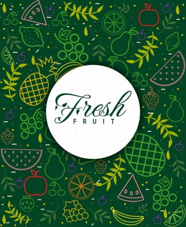 fresh fruits background multicolored flat design
