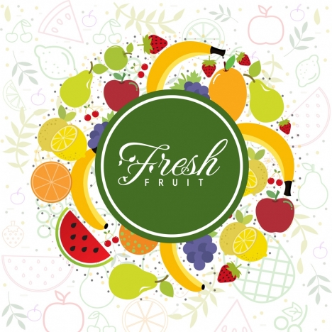 fresh fruits background various colored icons decor