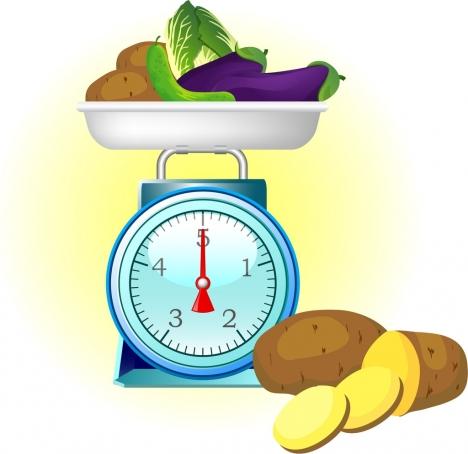 fresh vegetables advertising balance potato cucumber icons