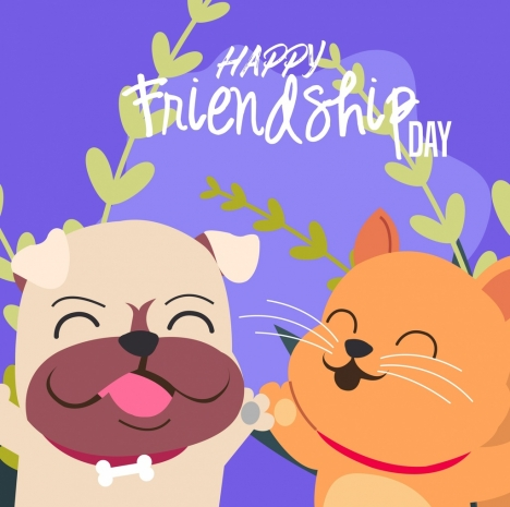Friendship Day Banner Cute Dog Cat Icons Vectors Stock In Format