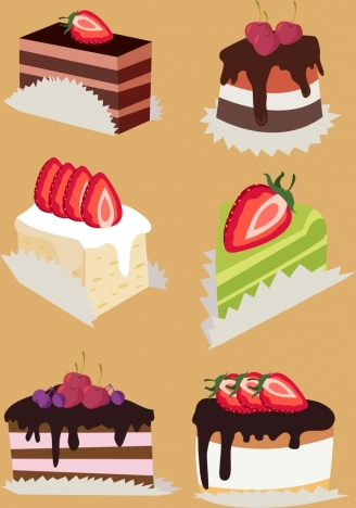fruit cream cakes icons colorful 3d design