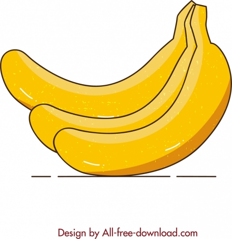 fruit painting banana icon colored retro sketch