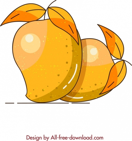 fruit painting ripe mango icon classical design