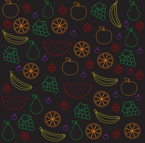 fruits background colorful silhouette style repeating design