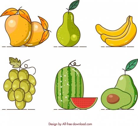 fruits background mango pear banana grapes watermelon avocado